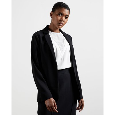 Long Line Straight Fit Blazer, Black