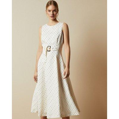 Spotted A-line Midi Dress