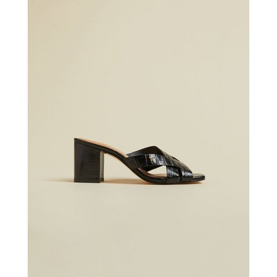TED BAKER Leather Croc Effect Mules
