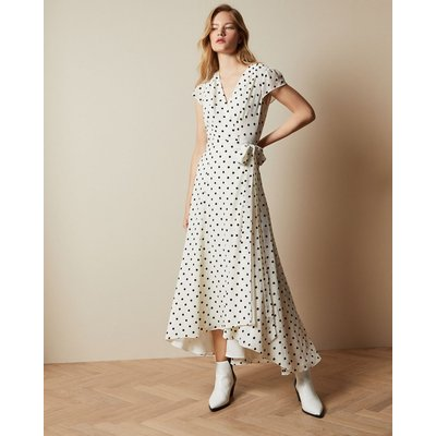 Spotted Dip Hem Maxi Dress