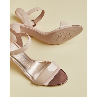TED BAKER Patent Leather Block Heel Sandals