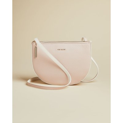 Leather Semicircle Double Pouch Cross Body Bag