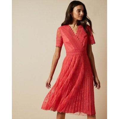 V Neck Lace Midi Dress