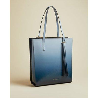 Ombre Patent Leather Tassel Shopper Bag