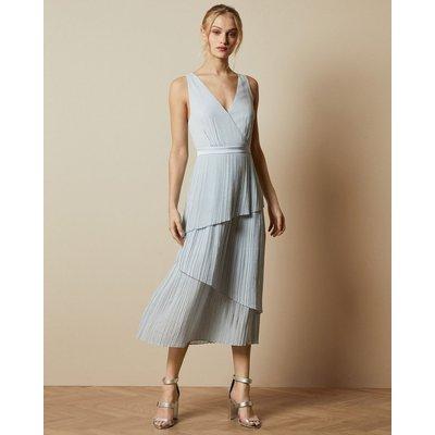 Pleated Tiered Midi Dress