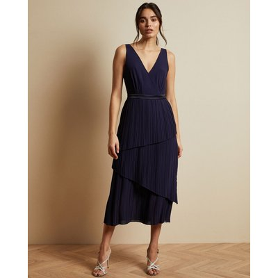 Pleated Sleeveless Midi Dress