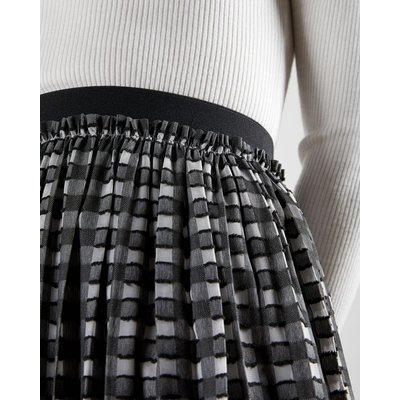 TED BAKER Checked Pleated Midi Skirt