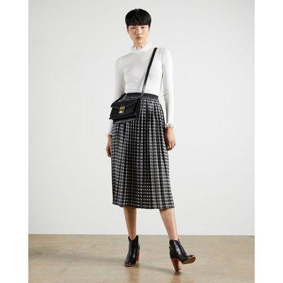 Checked Pleated Midi Skirt