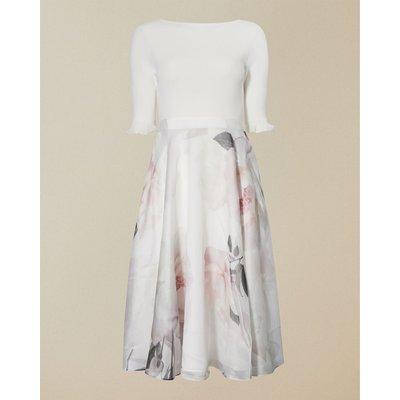 Bouquet Print Full Skirt Dress