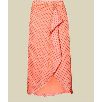 Contrast Spot Wrap Skirt