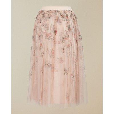 Bouquet Print Tulle Skirt