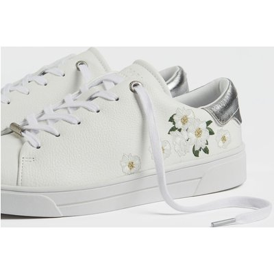TED BAKER Elderflower Embroidered Leather Trainers
