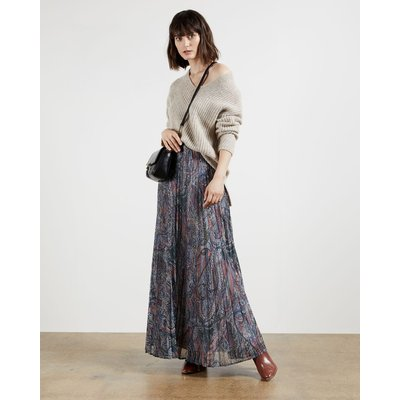 Lantern Print Pleated Maxi Skirt
