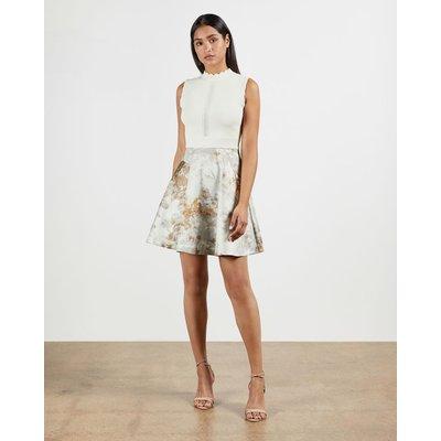 Vanilla Jacquard Skirted Dress
