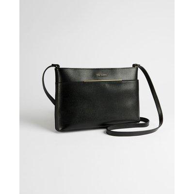 Saffiano Bar Detail Leather Cross Body Bag