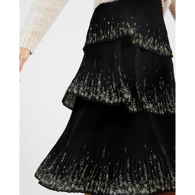 Papyrus Tiered Pleated Midi Skirt