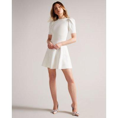 Puff Sleeve Dress With Engineered Skirt