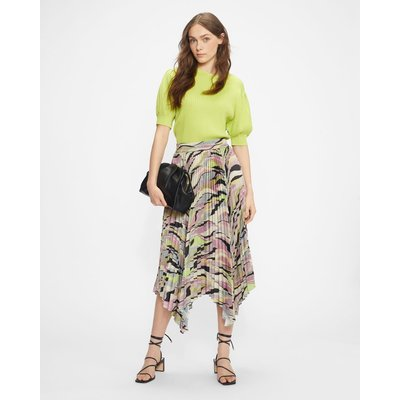 Pleated Midaxi Skirt With Highlow Hem