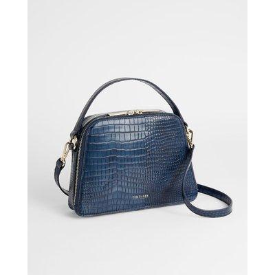 Small Croc Detail Top Handle Bag
