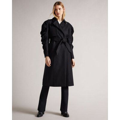 Exaggerated Ruched Sleeve Mac Trench Coat