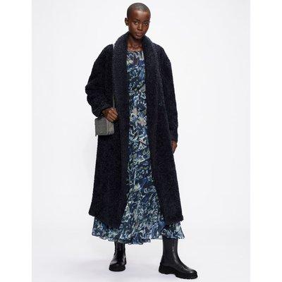 Faux Fur Belted Wrap Coat