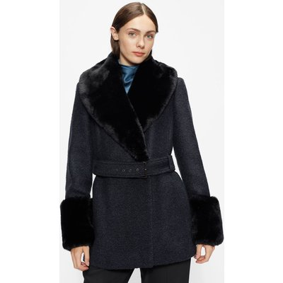 Belted Coat With Faux Fur Collar And Cuffs
