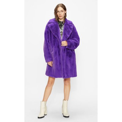 Faux Fur Cocoon Coat With Wide Collar