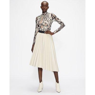 Pu Asymmetric Pleated Midi Skirt