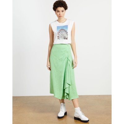 Button Front Skirt With Split