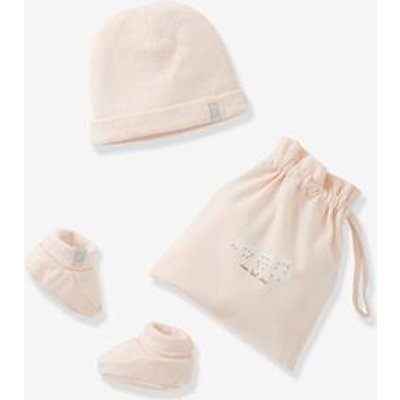 Beanie & Booties + Pouch, for Newborn Babies blue medium solid