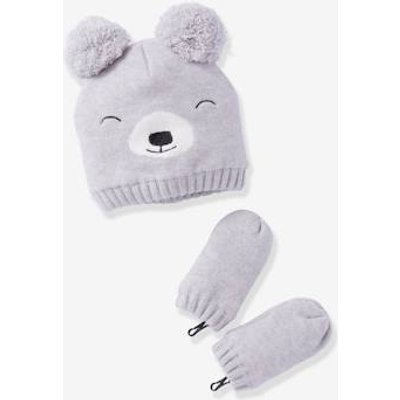 Lined Beanie + Mittens Set, for Baby Boys grey light solid