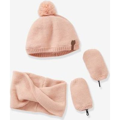 Baby Girls' Iridescent Beanie, Snood & Mittens Set, Lined grey light solid