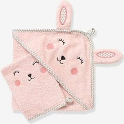 Baby Hooded Bath Cape With Embroidered Animals grey blue