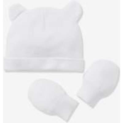 Baby Girls' Beanie & Mittens in Organic Cotton Jersey Knit Fabric white light solid