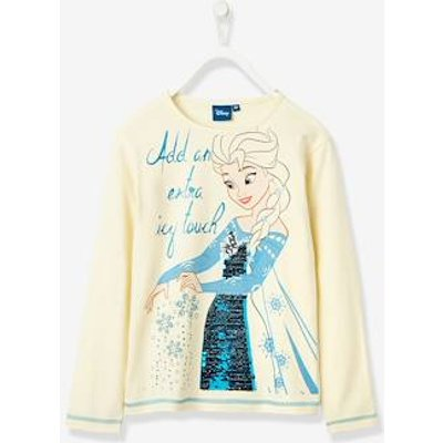 Girls' Long-Sleeved T-Shirt, Frozen® Theme, with Reversible Sequins white medium solid with design