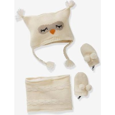 Baby Girls' Beanie, MIttens & Snood Owl Set white light solid with design