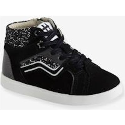 Leather Trainers for Girls, Designed for Autonomy black dark solid with design