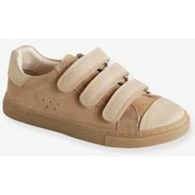 Leather Trainers with Touch 'n' Close Tab for Boys beige light solid