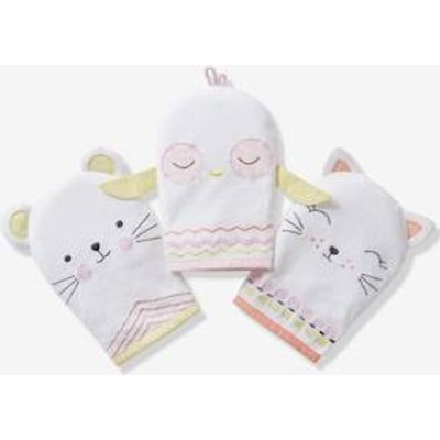 Pack of 3 Bath Mitts, Animals white light solid with design