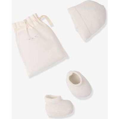 Knitted Booties & Beanie Set, for Newborn Babies beige light solid