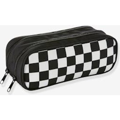 Checked Pencil-Case, with 2 Compartments, for Boys black dark solid
