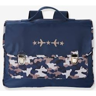Satchel with Camouflage Print, for Boys blue dark solid