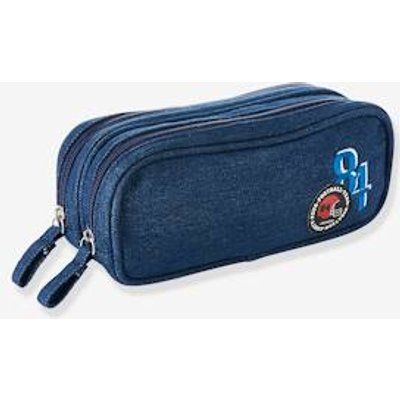 Denim Pencil-Case with Patches, for Boys blue dark wasched