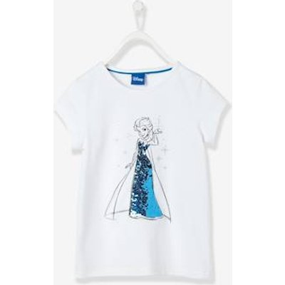 Girls' T-Shirt with Reversible Sequins, Frozen® Theme white light solid with design
