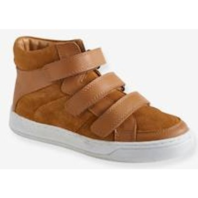 Leather High Top Trainers with Touch Fasteners, for Boys black dark solid