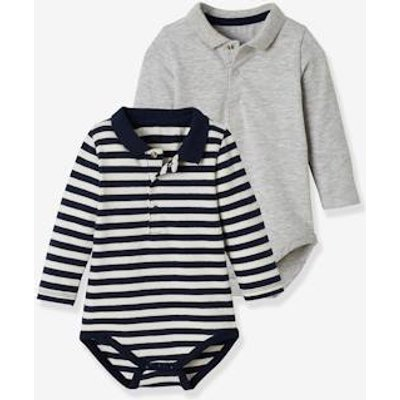 Pack of 2 Bodysuits for Babies, Polo Shirt Collar, Long Sleeves grey medium mixed color