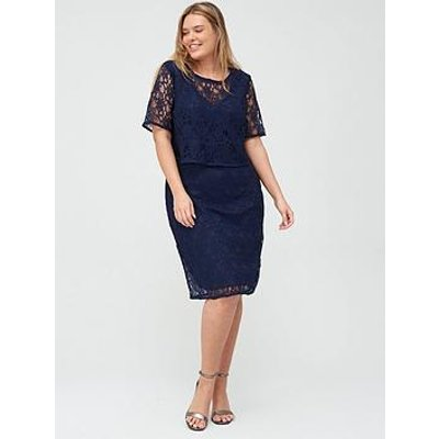 V By Very Curve Double Layer Lace Midi Dress - Navy