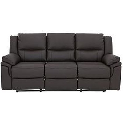 Albion Luxury Faux Leather 3 Seater Manual Recliner Sofa