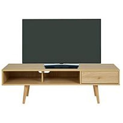 Ideal Home Monty Retro Tv Unit- Fits Up To 65 Inch Tv - Oak-Effect