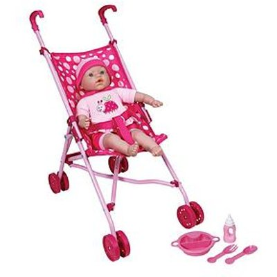 Lissi 40Cm Soft Baby Doll With Folding Stroller